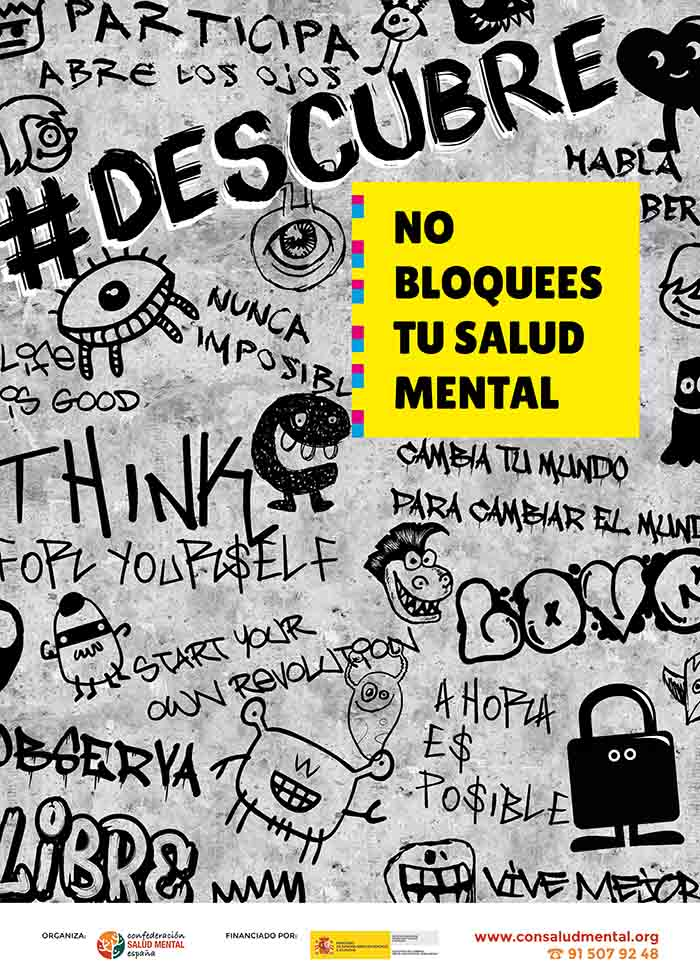 Cartel DESCUBRE II 50x70 No bloquees tu salud mental