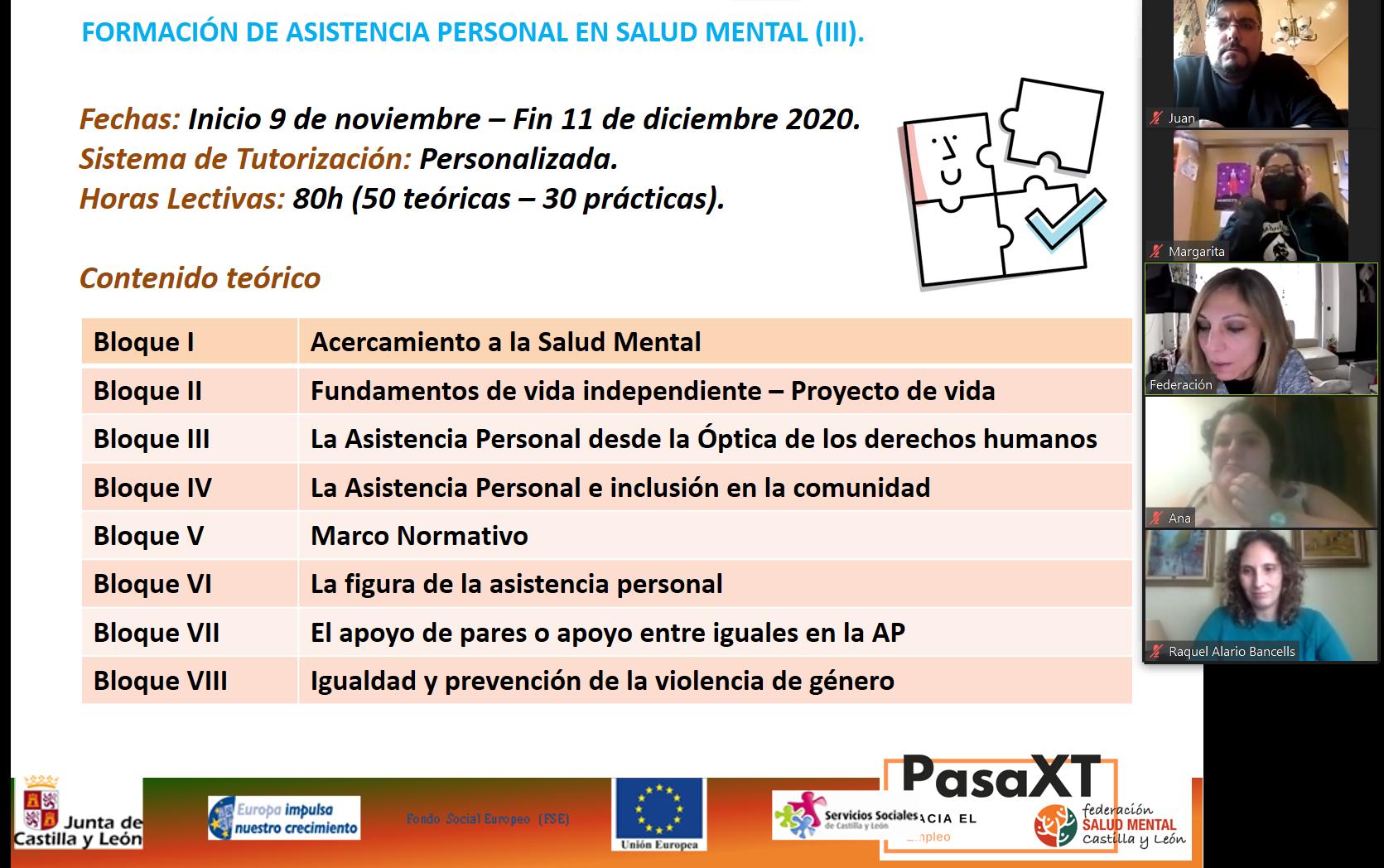 Formación asistencia personal en salud mental